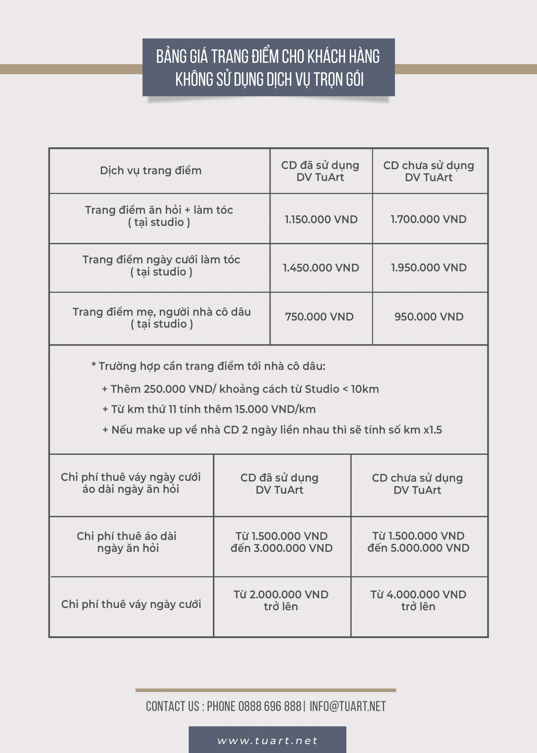 Bảng giá trang điểm cho khách hàng