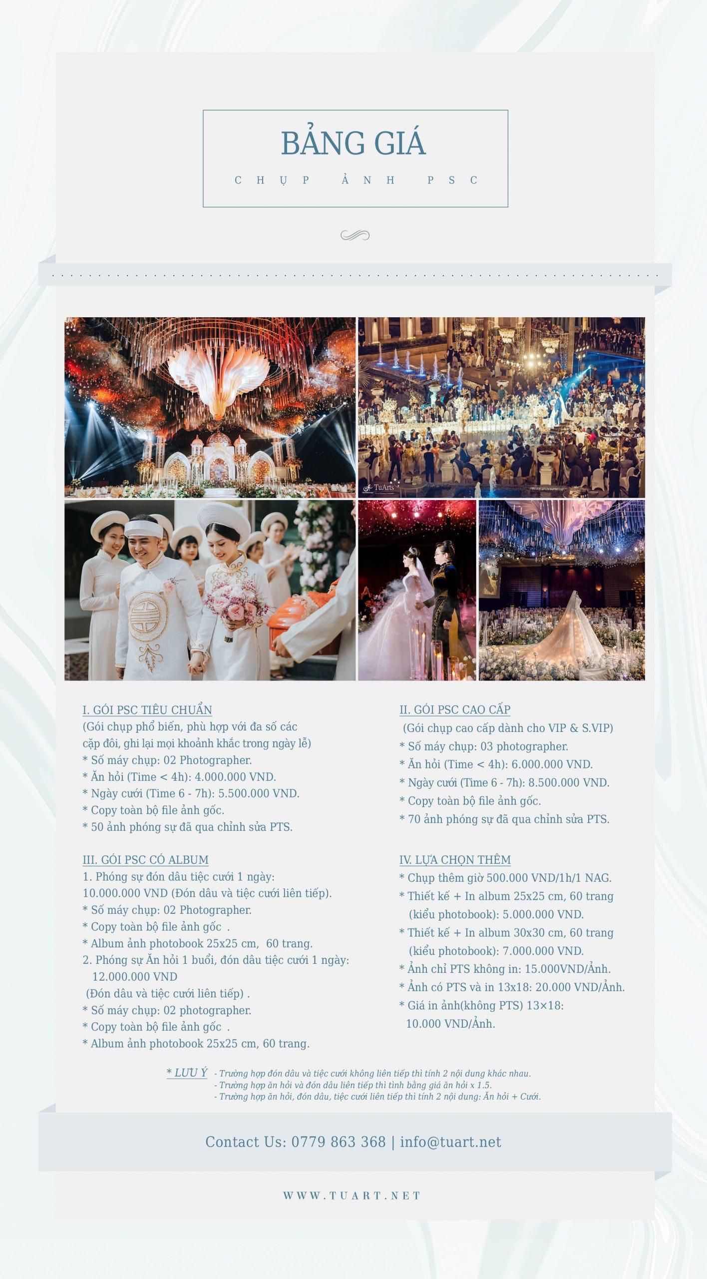 Bảng giá chụp ảnh phóng sự ngày cưới