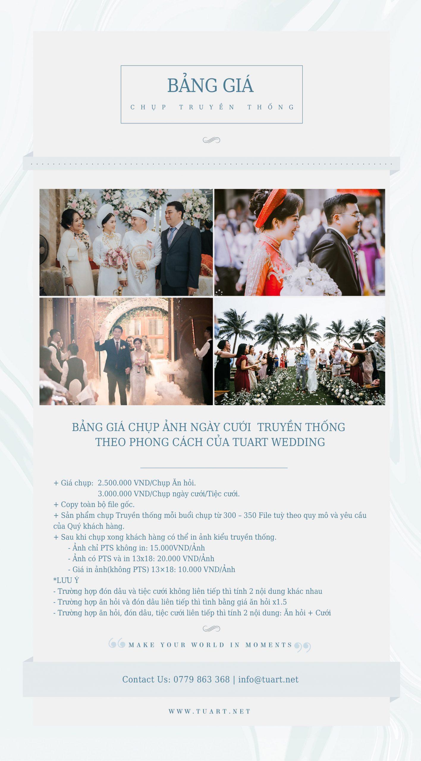 Bảng giá chụp ngày cưới truyền thống